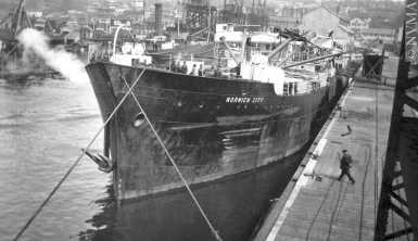 Figure 1. The freighter SS Norwich City docked at the Burrard Drydock Company in Vancouver, British Columbia, on April 27, 1928. Photo by Lindsay Loutet