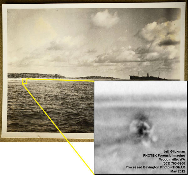 Figure 2. Norwich City wreck on Gardner Island (1937) with bow of ship facing northeast. Photo by Eric Bevington (1937) courtesy of TIGHAR. Forensic imaging by Jeff Glickman of Photek, Woodinville, Washington.